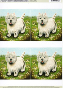 2 sheets ' terrier dog, decoupage sheet, ideal for arts and crafts, card, invitations, dolls houses and lots more etc