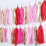 20 X Red Pink Gold White Hot Pink Tissue Paper Tassels for Party Wedding Gold Garland Bunting Pom Pom
