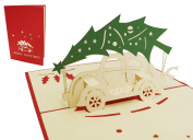 3D Pop Up Card Greeting Cards Christmas Car And Christmas Tree Card