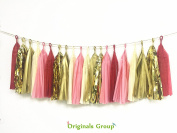 16 X Originals Group Red Coral Gold Apricot Tissue Paper Tassels for Party Wedding Gold Garland Bunting Pom Pom