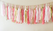 (Tassels Ship Assembled and Ready to Hang) 16 X Coral Tissue Paper Tassels for Party Wedding Gold Garland Bunting Pom Pom