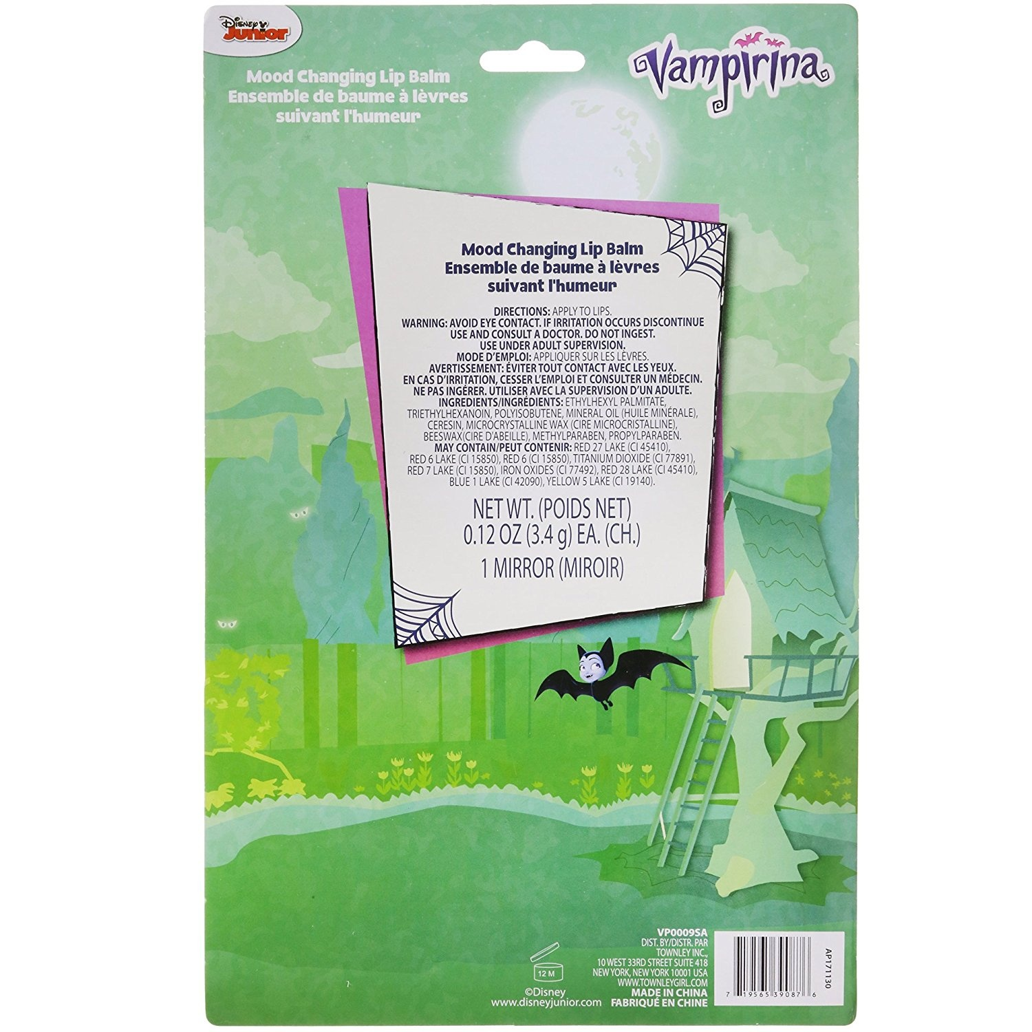 TownleyGirl Vampirina Super Sparkly Lip Balm Set for Girls, with 4 Mood  Changing Flavours and Mirror