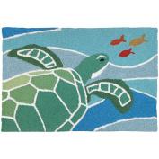 Jellybean Sea Turtle On Blue Waves Coastal Indoor/Outdoor Machine Washable 50cm x 80cm Accent Rug