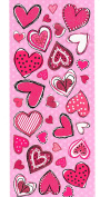 pinks and reds peel off craft scrapbook style hearts peel offs, large sheet 30x13cm etc peel off stickers for crafts / card making etc