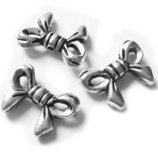 Heather's cf 96 Pieces Silver Tone Bowknot Flat Beads Findings Jewellery Making 13X10mm