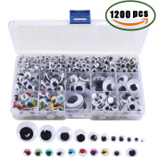 Assorted Size Googly Eyes Lashes ManYee Wiggle Googly Eyes Patch Sticky Self Adhesive Googly Eyes Stuffed Animal DIY Scrapbooking Crafts Toy Accessories 1200Pcs