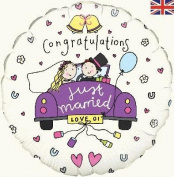 Oaktree 228588 Congratulations Just Married 46cm Foil Balloon