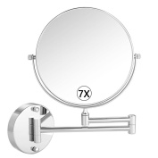 Cosprof Bathroom Mirror 7X/1X Magnification Double-sided 20cm Wall Mounted Vanity Magnifying Mirror Swivel, Extendable and Chrome Finished