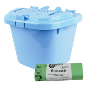 Pale Blue 5L Vented Kitchen Compost Caddy & 50x All-Green Compostable Bags- Composting Bin for Food Waste Recycling