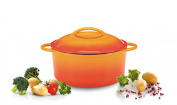 Karl Kruger Cuisine Enamelled Cast Iron Dishes Series Meat Pot with Lid, Orange, 2.5 Litre