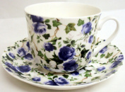 Ivy Rose Breakfast Cup & Saucer Fine Bone China Blue Roses Large Cup & Saucer Hand Decorated in the U.K. Free UK Delivery