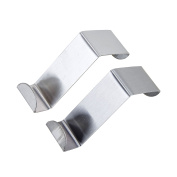 2 Pcs Stainless Steel Hooks Door Back Hanger Over Cupboard and Drawer Hooks Space Saving Holder