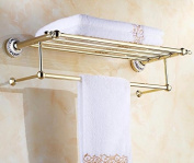 GGHYYO The Bathroom Towel Rack Shelf Wall-Mounted With Towel Rail Gold 67*23Cm