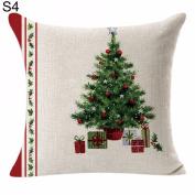 ZHOUBA Christmas Linen Pillow Case Throw Waist Soft Cushion Cover Home Sofa Bed Decor