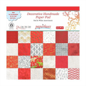 Paperhues Red-White Celebration Collection 30.5x30.5 cm Pad, 24 Sheets. Decorative Specialty Handmade Origami Papers for Gift Wrap, Card Making, Scrapbooking, Decor, Art and Craft Projects.