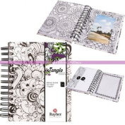 Tangle Memory orchidé Colouring Therapy Anti-Stress Journal, Spiral Notebook 30 Sheets and Envelopes