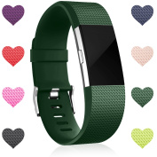 Wepro Bands Replacement for Fitbit Charge 2 HR, Buckle, 15 Colours, Large, Small