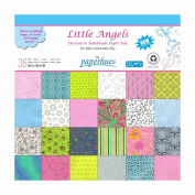 Paperhues 'Little Angels' Decorative Paper Pad, 36 Sheets, 30x30 cm. Handmade Origami Papers for Toddlers Birthday Scrapbook, Birth Announcement & Decoration, Baby Shower, Art and Craft projects