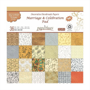 Paperhues Wedding Scrapbook Paper 30x30 cm Pad, 36 Sheets. Celebration Pad. Decorative Specialty Handmade Origami Paper Pad for Wedding Cards, Gift Wrap, Scrapbooking, Decor, Art Craft Projects