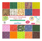 Paperhues Decorative Scrapbook Papers 15.2x15.2 cm Pack, 100 Sheets, Assorted Colours. Forever Collection. Specialty Handmade Origami Papers for Scrapbooking, Decoupage, Cards, Gift Wrap, Art & Craft.