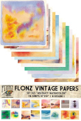 Paper Pack (16sh 25x25cm) Abstract Watercolour FLONZ Vintage Paper for Scrapbooking and Craft