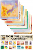 Paper Pack (24sh 15x15cm) Abstract Watercolour FLONZ Vintage Paper for Scrapbooking and Craft