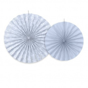 2 Paper-rosettes, blue-grey