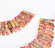 xinyiwei 100pcs Mini Flower Printed Wooden Photo Paper Peg Craft Clips