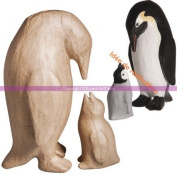 Family of Penguins in Paper Mache, FSC recycled 100%, 9,5x10x205cm + 5x5,5x10 cm for Crafts