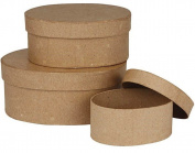 3 Paper Mache Oval Stacking Boxes to Decorate Largest 18x8cm