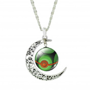 ♚ Mnpkmn - Pokemon Go Necklace Pokeball 'Pokeball With Double Moon Pendant And Cabochon - Boys and Kids - Gift Idea - Fashion Jewerly