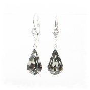 pewterhooter 925 Sterling Silver lever back earrings expertly made with teardrop Black Diamond crystal from ® for Women. London box