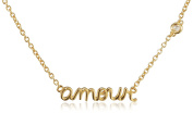 "Shy by Sydney Evan Sterling Silver Yellow Gold Plated ""Amour"" Necklace with Diamond Bezel of 40-41cm"