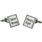 """Harvey Makin Gents Rhodium Plated """"Always Right - Never Wrong"""" Cufflinks In Box"""
