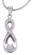 Urns UK Chelsea Design 70 Cremation Ashes Jewellery Pendant with Steel Chain, Silver