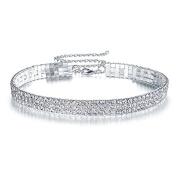 Elegant Rose 3 Row Clear Rhinestone Necklace Choker Necklace Wedding Jewellery for Women