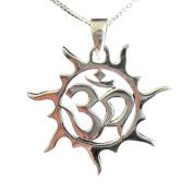 Sterling Silver 925 Om In Swirly Sun Pendant