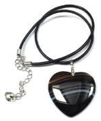 Extra Large Black Stiped Agate Heart Pendant on Leather Necklace