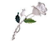Alilang Womens Red White Purple Rose Flower Enamel Crystal Rhinestone Golden Silvery Tone Brooch Pin