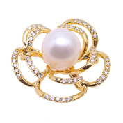 JYX Fine Freshwater Pearl Brooch Pin Wedding Jewellery- Yellow Floral style Corsage Wedding Bouquet Decor for Women