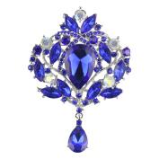 Merdia Created Crystal Brooch for Women Shiny Flower Teardrop Brooch Pin - Blue