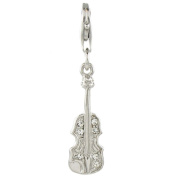 Quiges 925 Sterling Silver White Cubic Zirconia Violin Clip On Charm Pendants