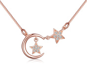 Yumilok Jewellery 925 Sterling Silver Rose Gold Plated Cubic Zirconia Elegant Moon Stars Pendant Necklace Necklet for Women/Girls