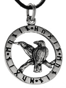 Ravens 925 Sterling Silver Pendant with Cotton Necklace