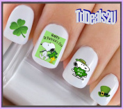 Holiday St. Patricks Day - Happy St Patricks Day Leprechan Dog #2 Kiss Me Snoopy Green Clover WaterSlide Nail Art Decals - Highest Quality! Made in USA