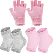 Bememo 3 Pairs Spa Moisturising Socks and Gloves Set, Moisture Open Toe Gel Heel Socks Gel Hand Fingerless Moisturising Gloves