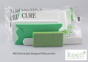 KEEN Disposable Pedicure Kits 400 KITS (4 item Kit-Packs) NAIL SALON Hy·giene Pack Disposable Manicure and Pedicure Nail Salon Supplies