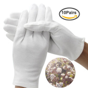 FASOTY 10 Pairs White Moisturising Gloves Cotton 24cm For Cosmetic Moisturising Hand Spa Jewellery Coin Inspection