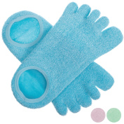 5 Toe Moisturising Gel Spa Socks for Women or Men | Perfect for Healing Dry Cracked Heels and Feet | Infused with Aromatherapy Blend of Lavender and Jojoba Oil | 1 Pair, Aquamarine Blue