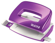 Leitz Mini Hole Punch, 10 Sheets, Guide Bar with Format Markings, Metal, WOW Range, 50601062 - Purple